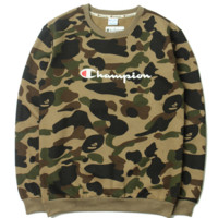 Champion Fashion Casual Loose Long Sleeve Camouflage Print Sweater