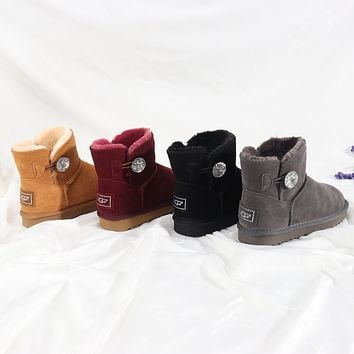 """""""UGG"""" Women male button Fashion Wool Snow Boots"""