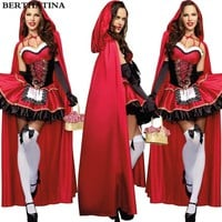 2018 Little Red Riding Hood Costume for Women Fancy Adult Halloween Cosplay Fantasia Plus Size 2XL Dress+Cloak Party Fairy Dress