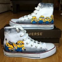 Minion Converse Shoes-Free Shipping Hand Painted Shoes