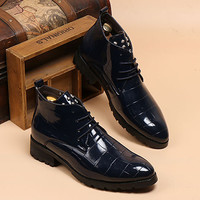 British Men's Style Shinning Leather Boots with Studded Design