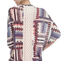 Tropical Tribal Knit Kimono Cardigan