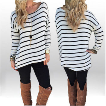 Oversized Black and White Striped Long Sleeve T-Shirt