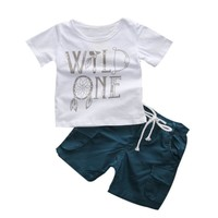 Newborn Infant Baby Boys Clothes Set Letter Boy T-shirt Tops Short Sleeve Pants Leggings 2pcs Outfits Clothing Baby Boy