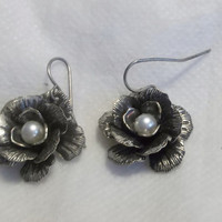 Silver Tone Pierced Earrings, Antiqued Metal, Flower Earrings with Pearl Center, Excellent Condition, Estate Jewelry, Costume Jewelry
