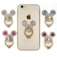 1pc phone holder mickey head diamond ring buckle stents 360 degrees rotate Mobile phone stand metal stents for smartphone/tablet