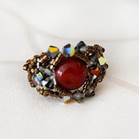 Swarovski beaded ring cornelian gemstone ring stretch comfortable band antique