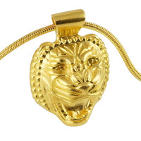 Lion head necklace: Assyrian inspired pendant, gold plating over sterling silver