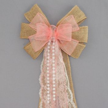 Coral Sheer Burlap Lace Pearl Wedding Pew Bow