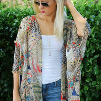 Safari Sands Feather Print Chiffon Pom Pom Kimono