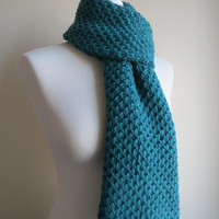 Hand-knit, Long, Chunky and Textured Scarf in Teal Blue