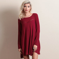 Red Long Sleeve Mini Dress