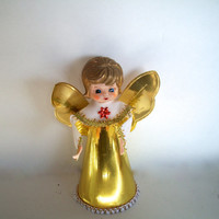 Vintage Angel Holiday Christmas Decor Tree Topper Or Table Top Paper 6 And 5/8 Inches Tall  X 3 And 1/4 Inches Wide