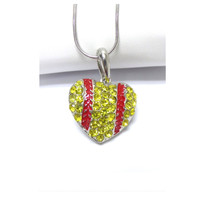 Crystal Accented Puffy Heart Softball Pendant Necklace