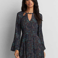 AEO Button Neck Fit & Flare Dress, Teal