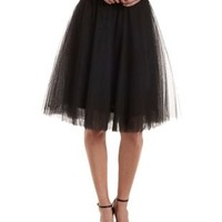 Black Tulle Full Midi Skirt by Charlotte Russe