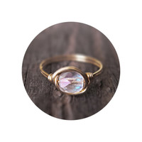 Crystal Solitaire Ring - unique rings