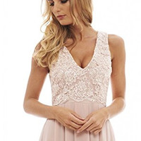 Nude Sleeveless Floral Lace V-Neck Pleated Maxi Dress
