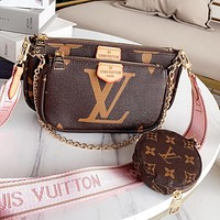 LV Louis Vuitton Hot Fashion Women's Printed Letter Retro Three-Piece Crossbody Bag