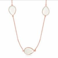 Teardrop Aqua Chalcedony Station Long Necklace in Rose Gold Plated Sterling Silver