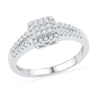 Square Cluster Diamond Fashion Ring 1/4ctw