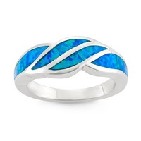 Sterling Silver Blue Opal Designed Band Ring (Size 8)