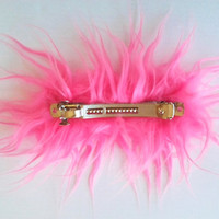 Crazy Pink French Barrette Hair Clip, XL Fluffy Barrette, Thick Hair
