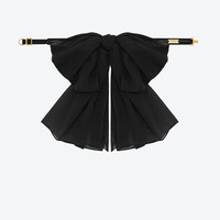 Saint Laurent Signature Large Bow In Black Silk Muslin With Leather Collar   ysl.com