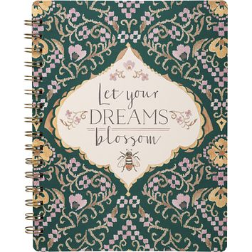 "Let Your Dreams Blossom Spiral Notebook | Art on Both Sides | 9"" x 7"" 