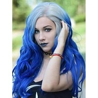 Long Grey Root To Dark Blue Wave Synthetic Lace Front Wig