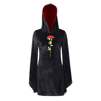 Gothic Style Flare Sleeve Rose Embroidery Design Figure Flattering Hooded Dress