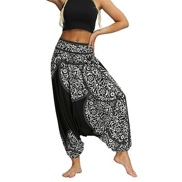 Women Baggy Pants Boho Gypsy Hippie Comfy Beach Trousers Elastic Waist Print Casual Loose Aladdin Harem Pants #10