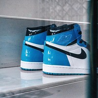 NIKE Air Jordan 1 AJ sale stitching couple high-top sneakers  Shoes Blue
