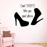 Wall Decals Vinyl Decal Sticker Beauty Shop Quote Good Shoes Take You Good Places Interior Design Mural Girl Bedroom Living Room Decor