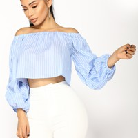 Charmed Life Pearl Top - Blue/White