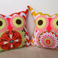 TWO owl pillows/ Chevron /Polyfil Stuffed little owl pillows/red/ yellow/ decoration/collection - Ready to ship