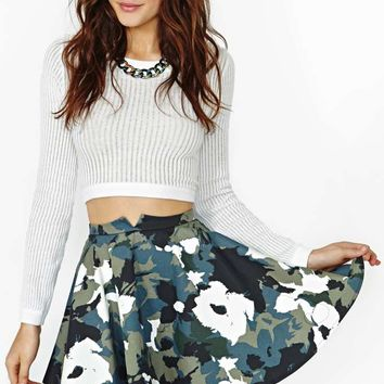 Nasty Gal Hidden Bloom Skater Skirt