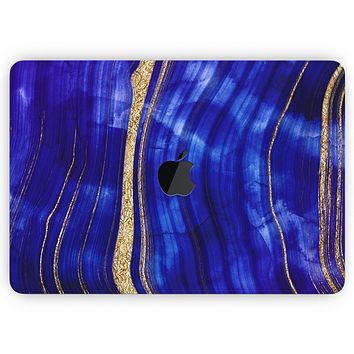 """Vivid Agate Vein Slice Blue V6 - Skin Decal Wrap Kit Compatible with the Apple MacBook Pro, Pro with Touch Bar or Air (11"""", 12"""", 13"""", 15"""" & 16"""" - All Versions Available)"""