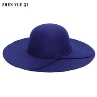 Women 2017 Fashion Wide Brim Fedoras New Autumn Winter Imitation Caps and Hats Large Brimmed Hat Lady Caps Bowknot Decoration