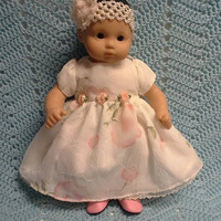 """AMERICAN GIRL Bitty Baby Clothes """"Flower Girl"""" (15 inch) doll outfit dress headband N1"""