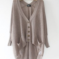 High Low Long Batwing Sleeves Cardigans with Pockets Front