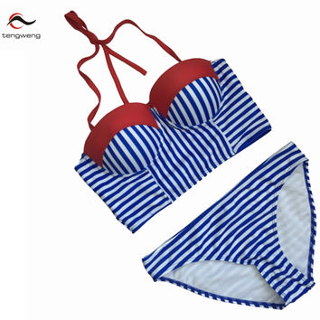 Tengweng 2016 Sexy Women Blue Push Up Swimsuit Swimwear Halter Top Brazillian Striped Bikini Set Bath Suit Summer Beach Biquini