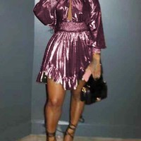 New Rose Gold Pleated Cut Out Irregular Long Sleeve Cute Homecoming Party Mini Dress