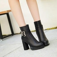 Buckle Ankle Boots Chunky Heel Pumps Women Shoes Fall|Winter 1898