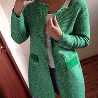 Turn-Down Collar Long-Sleeve Knitted Cardigan