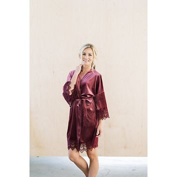 PRE-ORDER ONLY! Mauve Velvet and Lace Bridal Robe