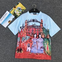 """Gucci Unskilled Worker"" Fashion Casual Cartoon Castle Portrait Girl Print Short Sleeve Thickened Cotton T-shirt Women Tops"