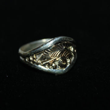 Size 11.5- Vintage Men's Ring Sterling Silver and 12k Gold- free ship US