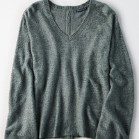 AE Zip-Back Bell Sleeve Sweater, Olive