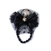 Ribbon and pearl ponytail holder, Black color, hair accessory, gold plated crown cubic, bun holder